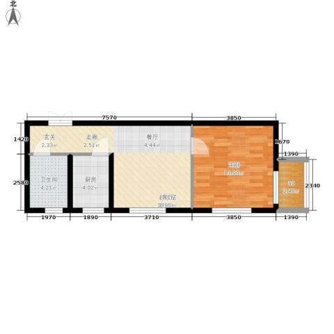 鸿盛凯旋门1室0厅1卫1厨51.00㎡户型图