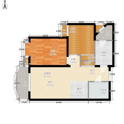 西豪逸景2室0厅1卫1厨97.00㎡户型图
