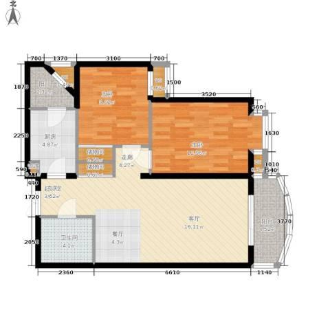 西豪逸景2室0厅1卫1厨100.00㎡户型图
