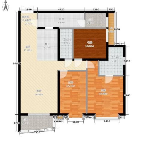 西豪逸景3室0厅2卫1厨145.00㎡户型图
