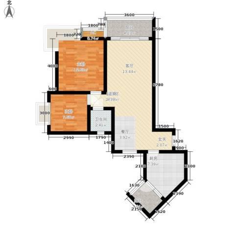 浩立半岛康城2室0厅1卫1厨88.00㎡户型图