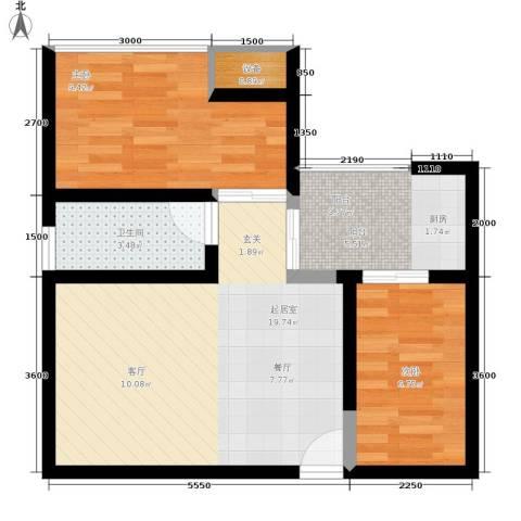 巨东青春华庭2室0厅1卫0厨52.00㎡户型图
