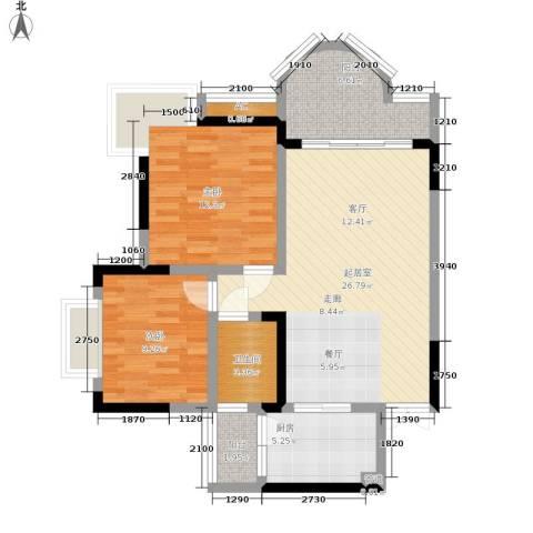 浩立半岛康城2室0厅1卫1厨82.00㎡户型图
