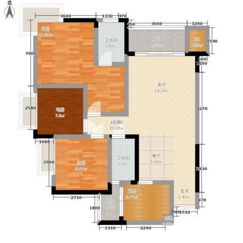 浩立半岛康城3室0厅2卫1厨112.00㎡户型图