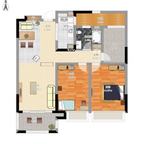绿地华尔道名邸2室1厅1卫1厨132.00㎡户型图
