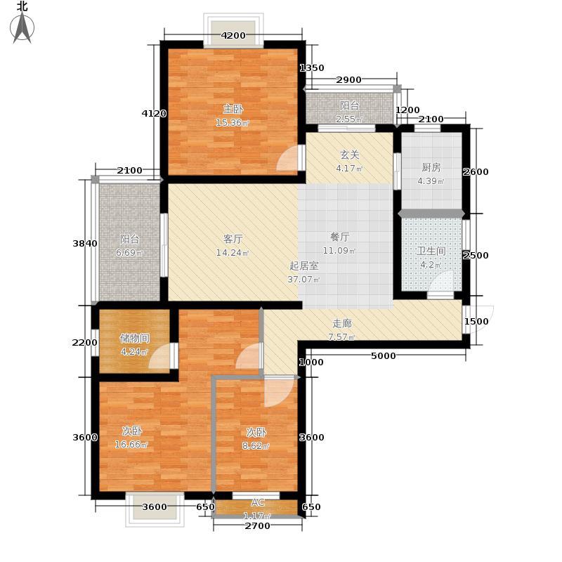 广厦水岸东方140.61㎡7号楼A户型3室2厅
