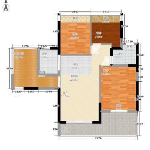碧水龙庭二期3室1厅1卫1厨99.21㎡户型图