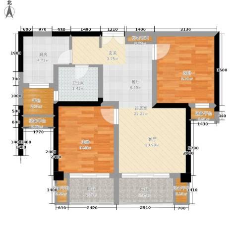 东方领秀2室0厅1卫1厨86.00㎡户型图