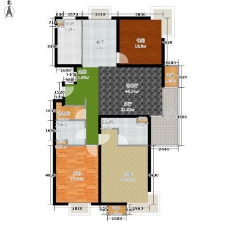 马陆清水湾公寓3室1厅2卫1厨144.00㎡户型图