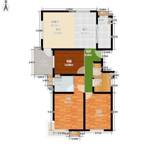 马陆清水湾公寓3室1厅2卫1厨138.00㎡户型图