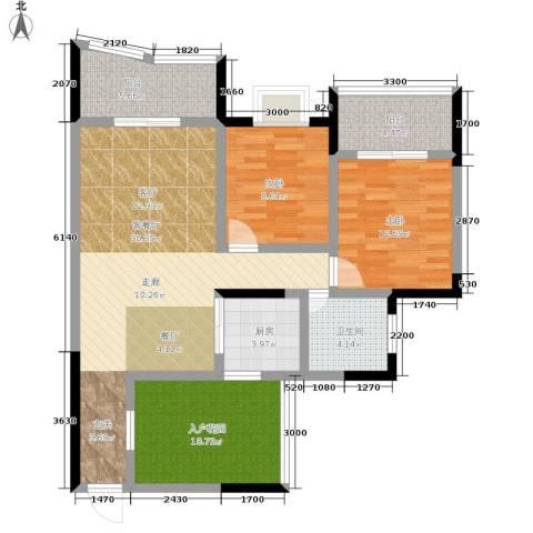 盘龙花园2室1厅1卫1厨83.00㎡户型图