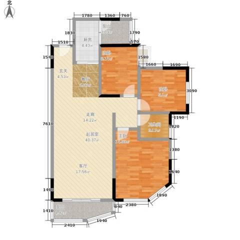 丽嘉花园3室0厅1卫1厨109.00㎡户型图