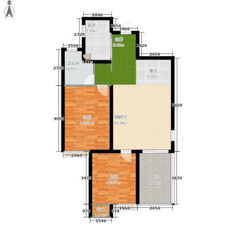 枫丹筱筑半山居2室1厅1卫1厨95.00㎡户型图