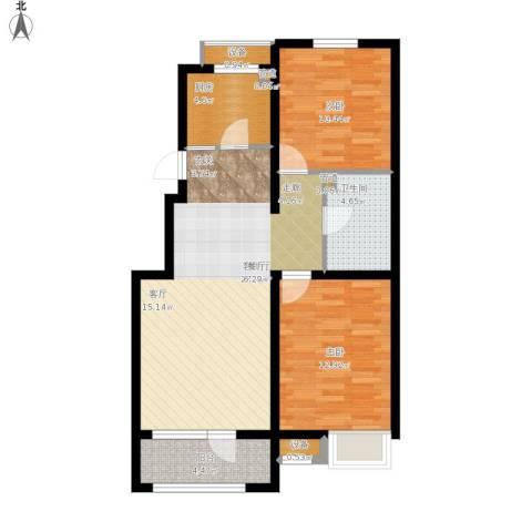 戴河水岸星城2室1厅1卫1厨96.00㎡户型图
