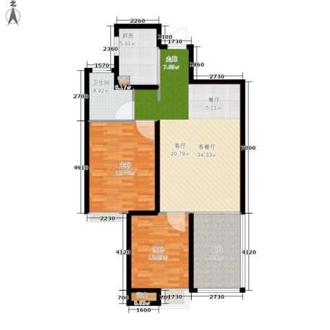 晋愉绿岛翡冷翠2室1厅1卫1厨95.00㎡户型图