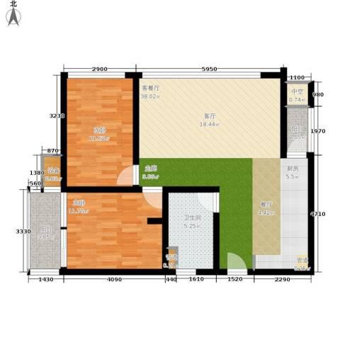 晋愉绿岛翡冷翠2室1厅1卫0厨106.00㎡户型图