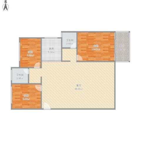仁恒G53公寓3室1厅2卫1厨121.00㎡户型图