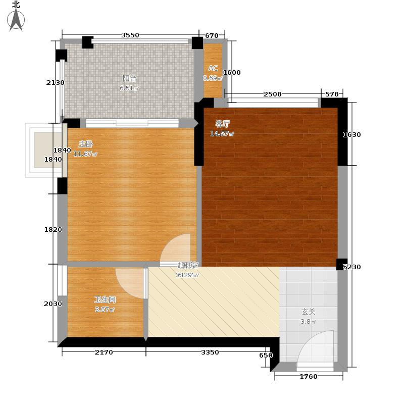 富力红树湾62.00㎡观鹭苑户型1室1厅