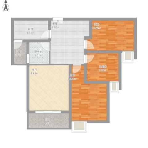 金地梅陇镇3室2厅1卫1厨108.00㎡户型图
