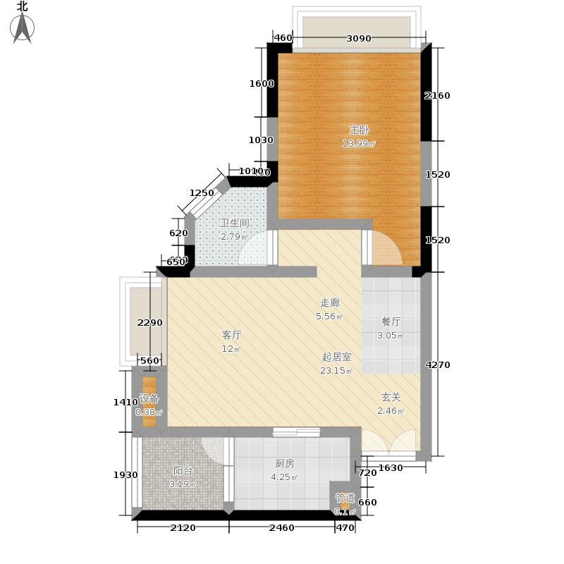 富力现代广场55.75㎡12号楼1号房户型