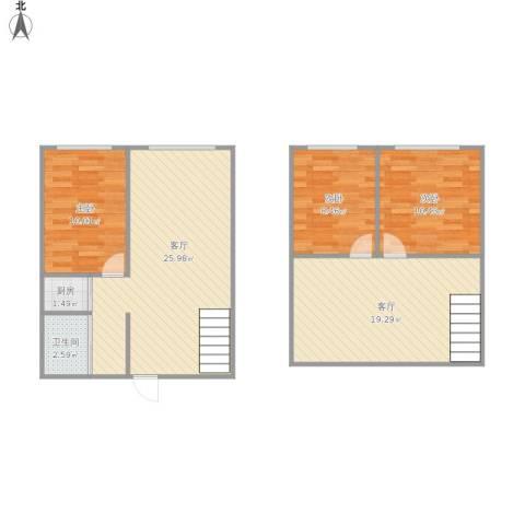 君园3室2厅1卫1厨105.00㎡户型图