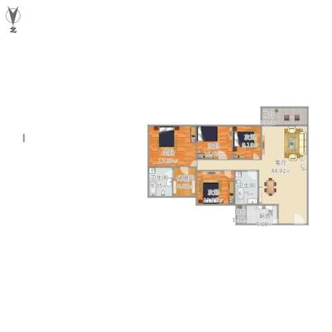 金华花园A区4室1厅2卫1厨167.00㎡户型图