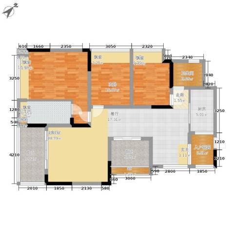 中瓯璧河名都3室0厅2卫1厨130.00㎡户型图