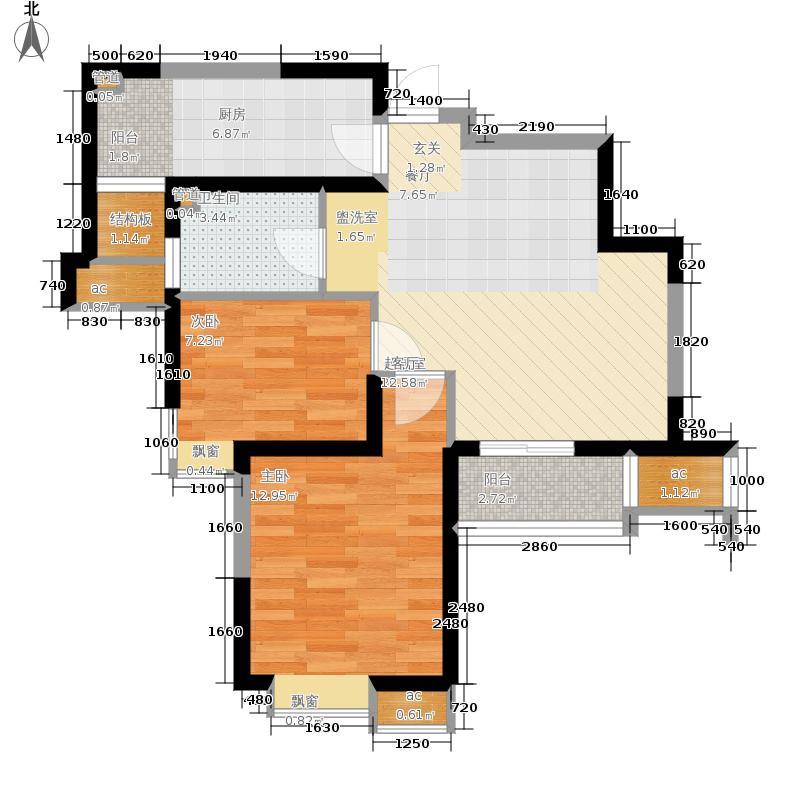 星河荣御75.00㎡二期高层标准层A户型2室2厅