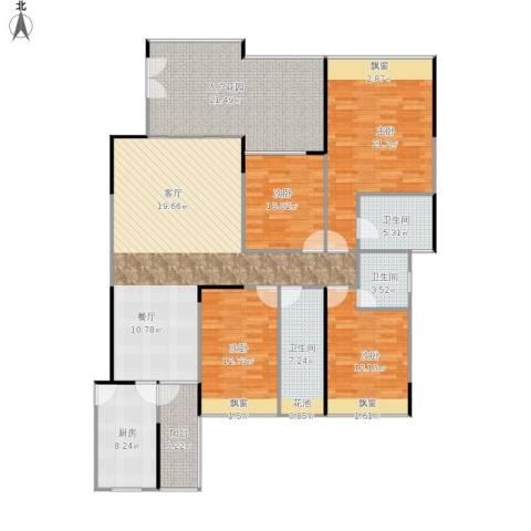 龙华幸福城4室1厅3卫1厨198.00㎡户型图