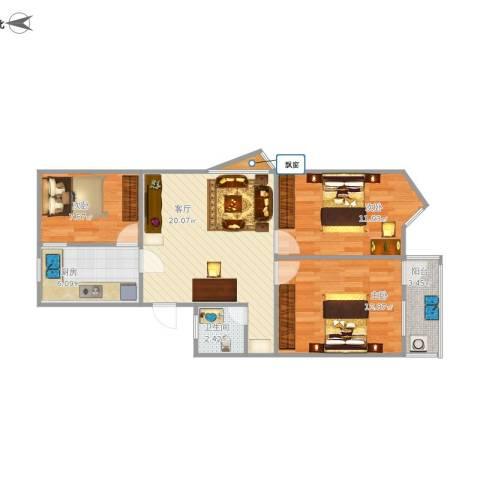 莲坂西小区3室1厅1卫1厨88.00㎡户型图