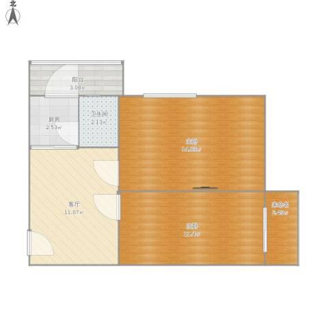 佳宁里2室1厅1卫1厨62.00㎡户型图