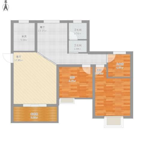 金地梅陇镇3室2厅2卫1厨102.00㎡户型图