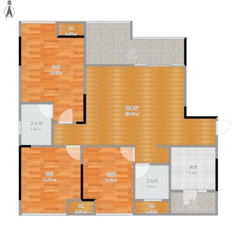 科艺花漾年3室1厅2卫1厨131.00㎡户型图