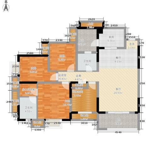 劲力五星城自由地3室0厅2卫1厨164.00㎡户型图