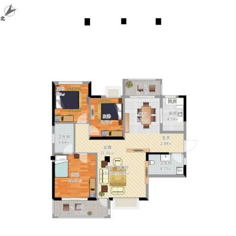 君�花园3室1厅2卫1厨121.00㎡户型图