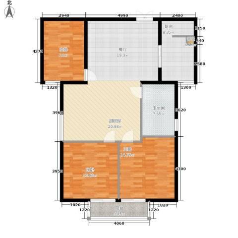 鸿盛凯旋门3室0厅1卫1厨112.00㎡户型图