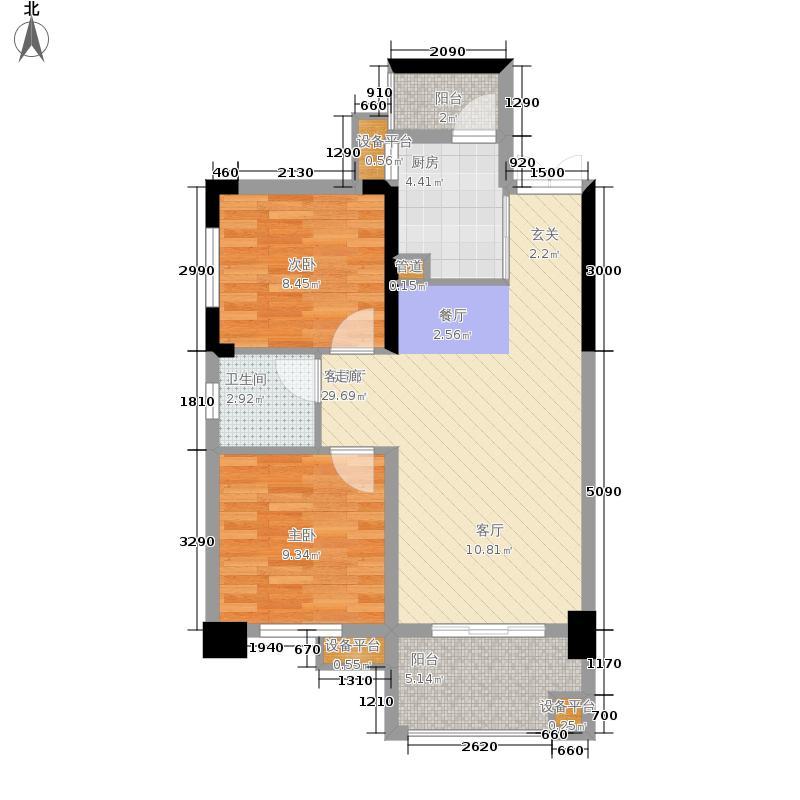 万里时代77.72㎡C-1户型2室2厅