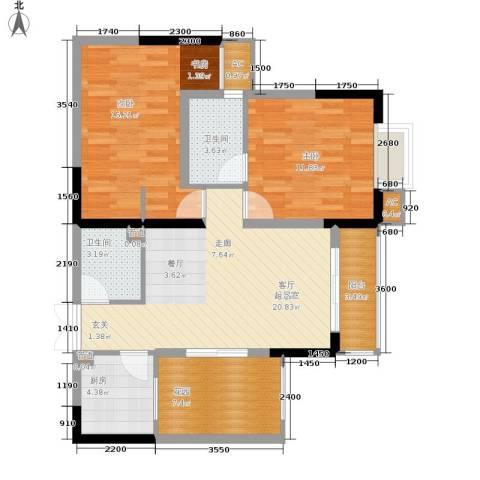 旭庆江湾国际花都2室0厅2卫1厨74.00㎡户型图