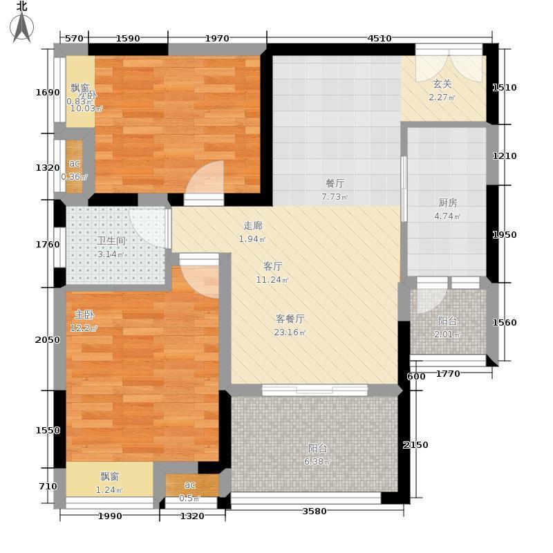 首创光和城64.00㎡二期6/7号楼标准层A6户型
