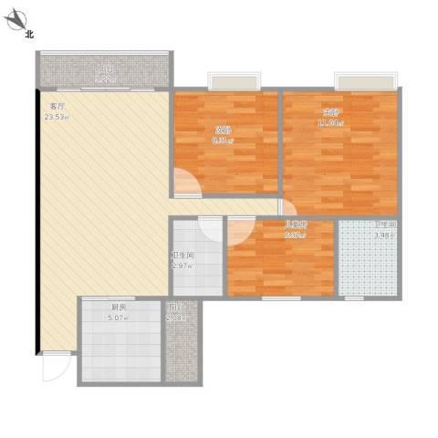 棕榈假日3室1厅2卫1厨90.00㎡户型图