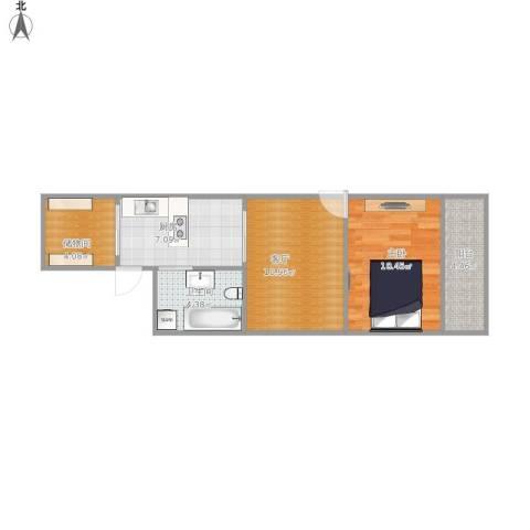 南山路71弄小区1室1厅1卫1厨57.00㎡户型图