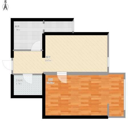 甘家口小区1室1厅1卫1厨73.00㎡户型图