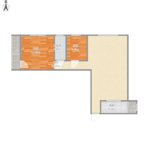 金地上塘道花园2室1厅1卫1厨75.00㎡户型图