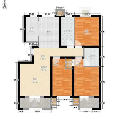 巨东青春华庭3室0厅2卫1厨92.00㎡户型图