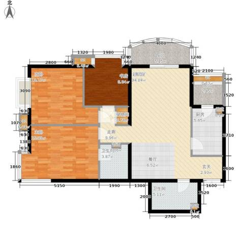 西豪逸景3室0厅2卫1厨136.00㎡户型图