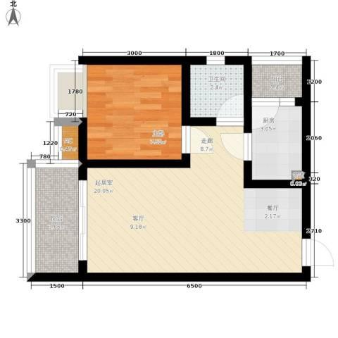 浩立半岛康城1室0厅1卫1厨52.00㎡户型图