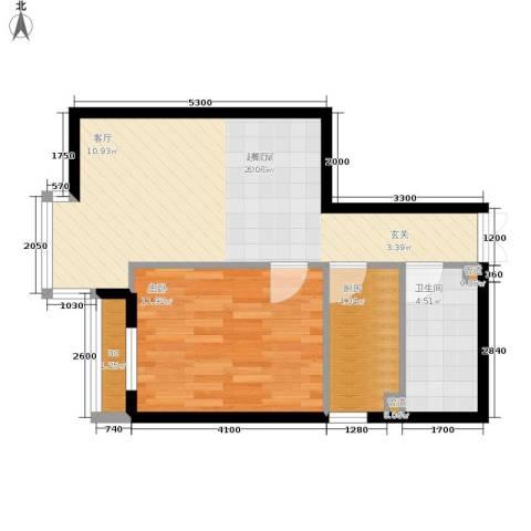 西豪逸景1室0厅1卫1厨61.00㎡户型图