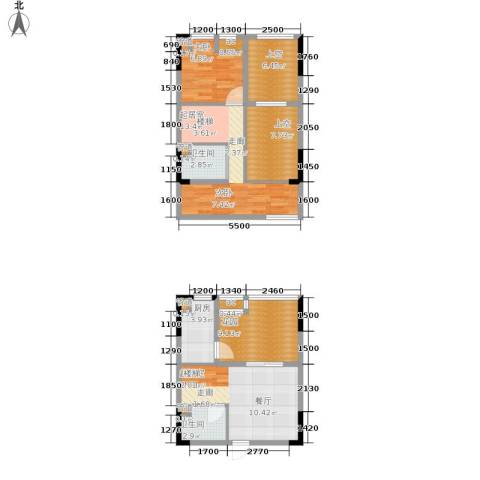 优跃城1室0厅2卫1厨71.00㎡户型图