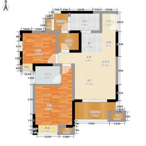 鸥鹏凤凰国际新城2室0厅2卫1厨89.00㎡户型图