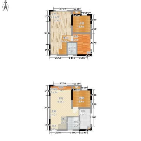 优跃城1室0厅2卫1厨67.69㎡户型图